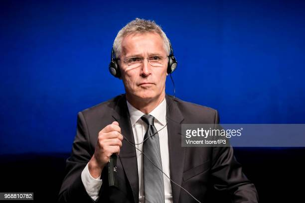 Secretary General Jens Stoltenberg attends the Cyber Defence Pledge Conference on May 15 2018 in Paris France This event provides an opportunity to...
