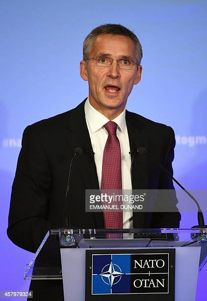 Secretary General Jens Stoltenberg delivers a speech at an event hosted by the German Marshall Fund in Brussels on October 28 2014 Stoltenberg...