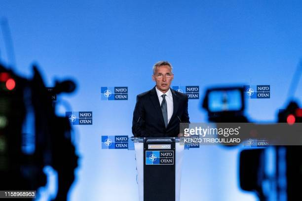 Secretary General Jens Stoltenberg delivers a speech during a press conference about the end of the IntermediateRange Nuclear Forces treaty at the...