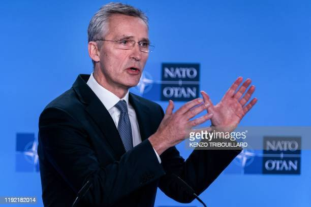 Secretary General Jens Stoltenberg delivers a speech during a press conference at the end of The North Atlantic Council meeting focused on the...