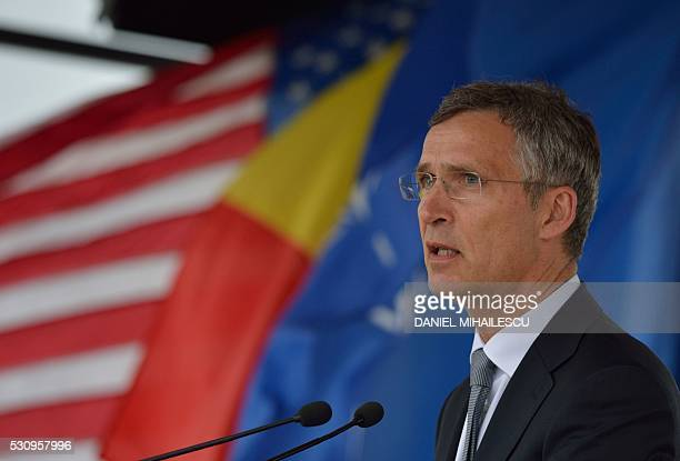 Secretary General Jens Stoltenberg delivers a speech during the inauguration ceremony of the Aegis Ashore Romania facility at the Deveselu military...