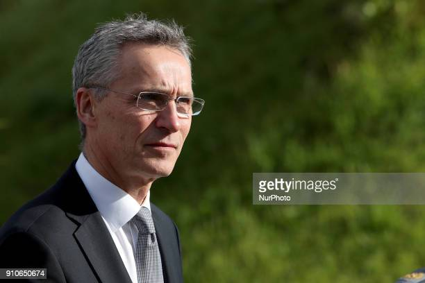 Secretary General Jens Stoltenberg during a visit to the Naval Striking and Support Forces NATO and the future NATO Communications and Information...