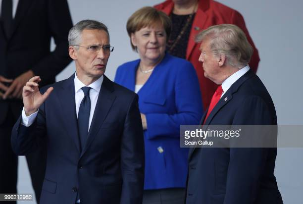 Secretary General Jens Stoltenberg German Chancellor Angela Merkel and US President Donald Trump attend the opening ceremony at the 2018 NATO Summit...