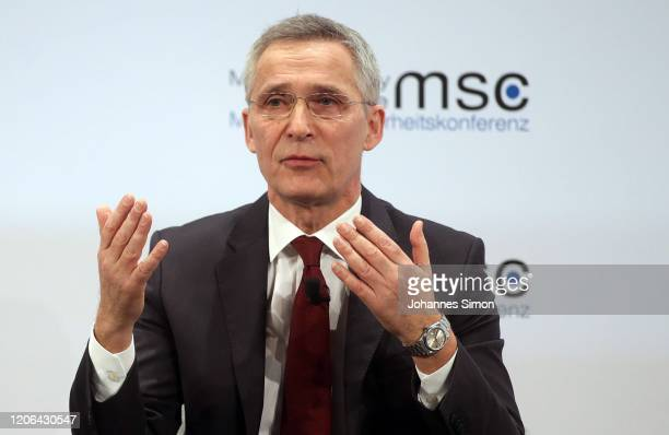 NATO secretary general Jens Stoltenberg gestures dutring as panel talk at the 2020 Munich Security Conference on February 15 2020 in Munich Germany...