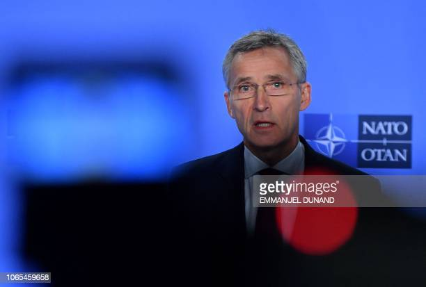 Secretary General Jens Stoltenberg gives a press conference following tensions between Russia and Ukraine at NATO headquarters in Brussels on...