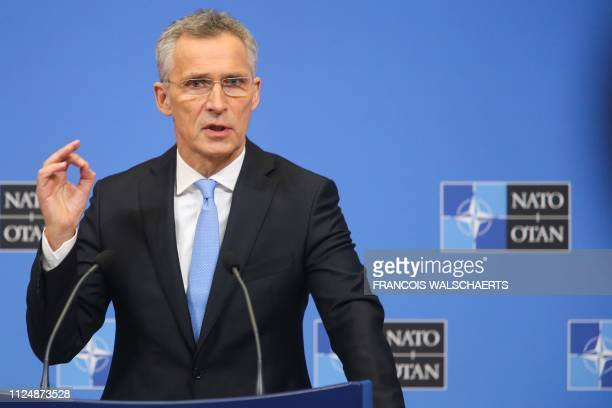 Secretary General Jens Stoltenberg gives a press conference following the North Atlantic Council of Defence Ministers at the NATO headquarters in...