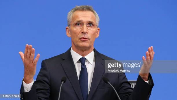 Secretary General Jens Stoltenberg holds a press conference after the second day session of the NATO Defence Ministers Meeting in Brussels Belgium on...