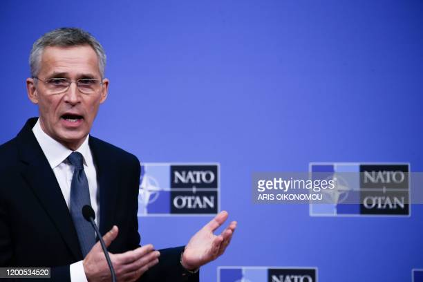 Secretary General Jens Stoltenberg holds a press conference during a NATO Defence ministers' meeting in Brussels on February 13, 2020.
