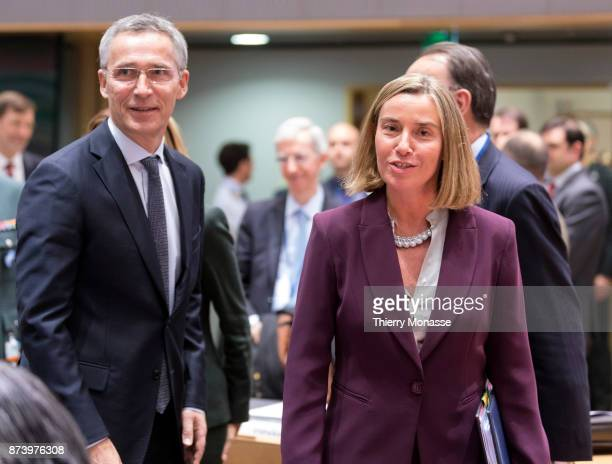 NATO secretary General Jens Stoltenberg is talking with the EU High Representative of the Union for Foreign Affairs and Security Policy /...