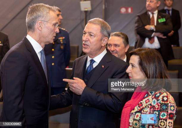 Secretary General Jens Stoltenberg is talking with the Turkish Defense Minister Hulusi Akar and the Spanish Minister of defense Margarita Robles...