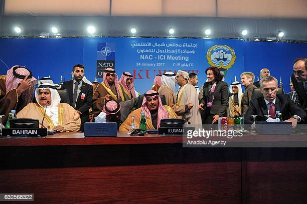 Secretary General Jens Stoltenberg , Kuwaiti Deputy Prime Minister and Foreign Minister Sheikh Sabah Khalid Al Hamad Al Sabah and Bahrain Foreign...