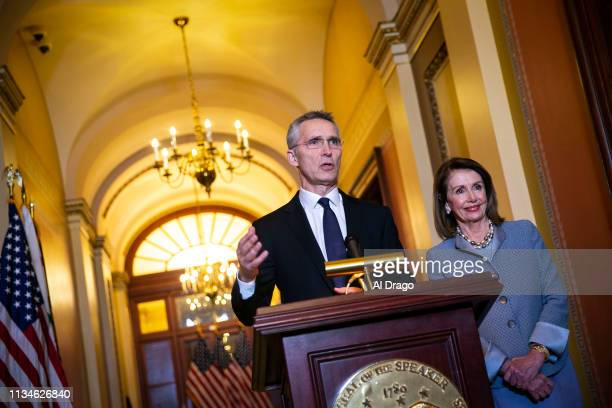 Secretary General Jens Stoltenberg speaks as U.S. Speaker of the House Nancy Pelosi (D-CA listens during a meeting in her office in the U.S. Capitol,...