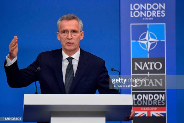 Secretary General Jens Stoltenberg speaks at a press conference at the NATO summit at the Grove hotel in Watford northeast of London on December 4...