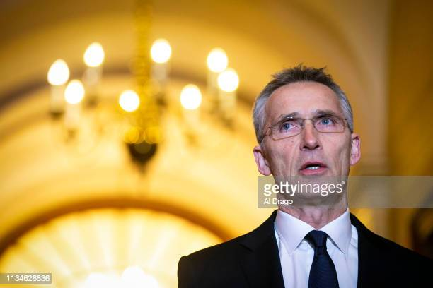Secretary General Jens Stoltenberg speaks during a meeting with US Speaker of the House Nancy Pelosi in her office in the US Capitol on April 3 2019...