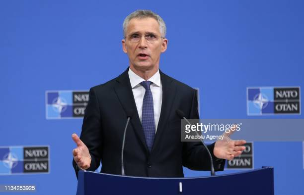 Secretary General Jens Stoltenberg speaks during a press conference prior to the NATO Foreign Ministers Meeting at the NATO headquarters in Brussels...