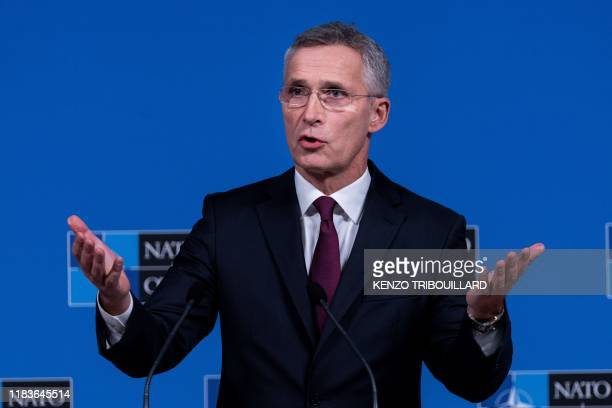 Secretary General Jens Stoltenberg speaks during a press conference as part of a Foreign Ministers meeting at the NATO headquarters in Brussels on...