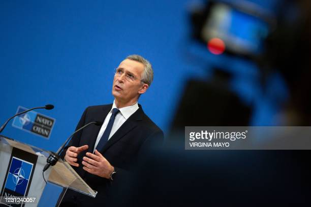 Secretary General Jens Stoltenberg speaks during a press conference following a video conference with NATO Defence Ministers, at the NATO...