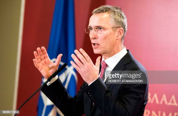 Secretary General Jens Stoltenberg speaks during ajoint press conference with Macedonian Prime Minister on January 18 2018 following their meeting in...