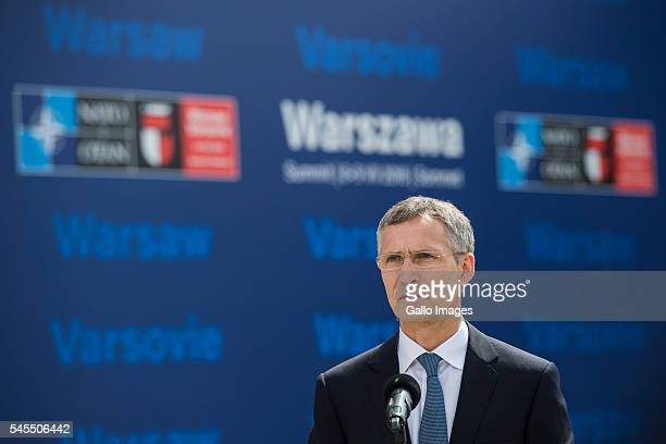 NATO Secretary General Jens Stoltenberg speaks during press conference before the NATO Warsaw Summit on July 8 2016 in Warsaw Poland World leaders...