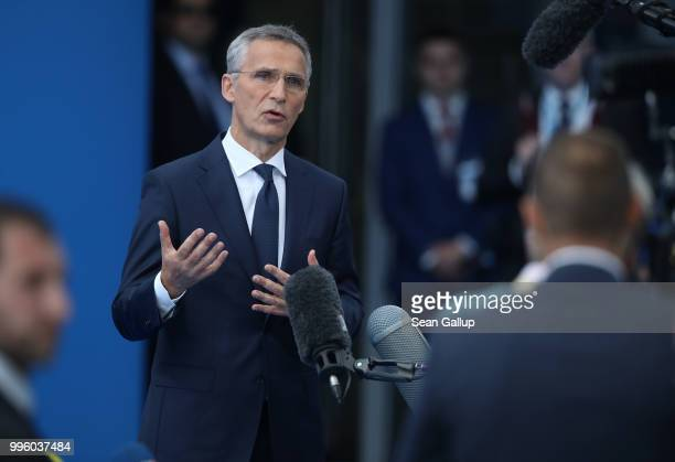 Secretary General Jens Stoltenberg speaks to reporters at the 2018 NATO Summit at NATO headquarters on July 11 2018 in Brussels Belgium Leaders from...