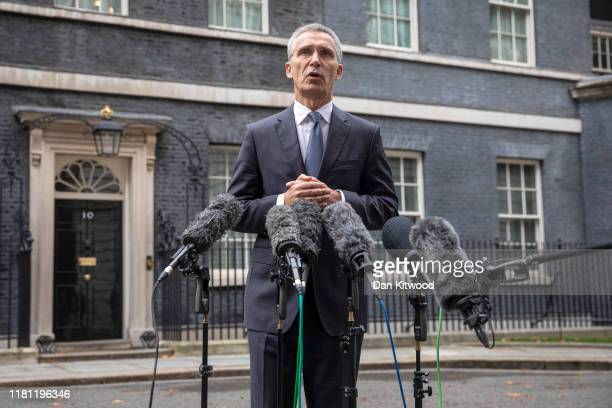 Secretary General Jens Stoltenberg speaks to reporters outside 10 Downing Street after a meeting with UK Prime Minister Boris Johnson on October 15,...