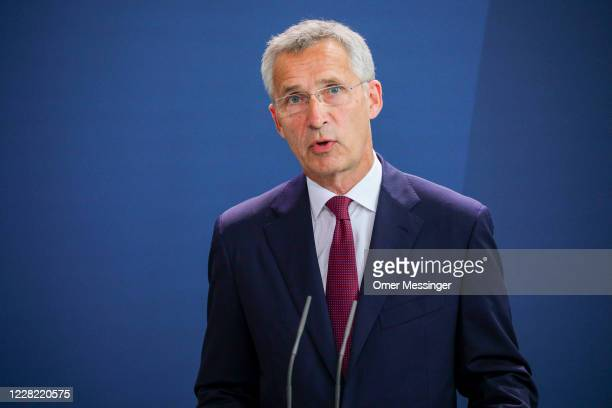 Secretary General Jens Stoltenberg speaks to the media prior to talks at the Chancellery on August 27, 2020 in Berlin, Germany. The two leaders are...