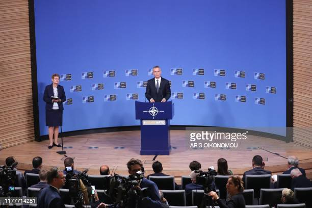 Secretary General Jens Stoltenberg talks to journalists during a press conference prior to NATO defense ministers meeting in Brussels on October 23...