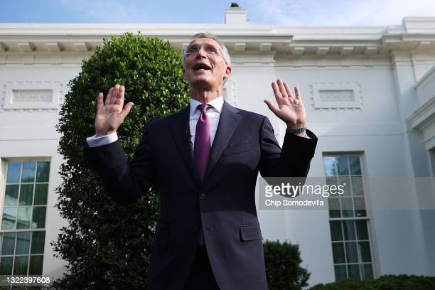 Secretary General Jens Stoltenberg talks to reporters following a meeting with President Joe Biden at the White House on June 7, 2021 in Washington,...