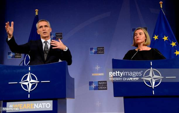 Secretary General Jens Stoltenberg talks to the media with European Union High Representative for Foreign Affairs and Security Policy Federica...