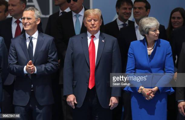 Secretary General Jens Stoltenberg US President Donald Trump and British Prime Minister Theresa May attend the opening ceremony at the 2018 NATO...