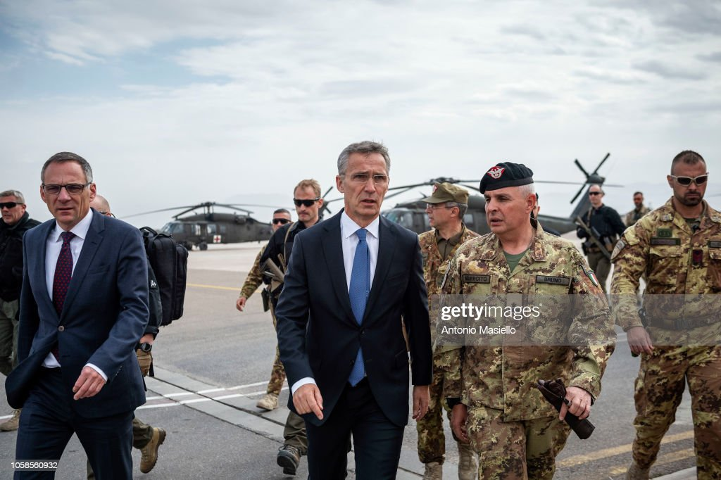 NATO Secretary General Jens Stoltenberg Visits 'Camp Arena' In Afghanistan : News Photo