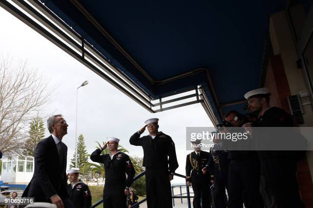 Secretary General Jens Stoltenberg walks in the Naval Striking and Support Forces NATO building in Oeiras outskirts of Lisbon Portugal on January 26...