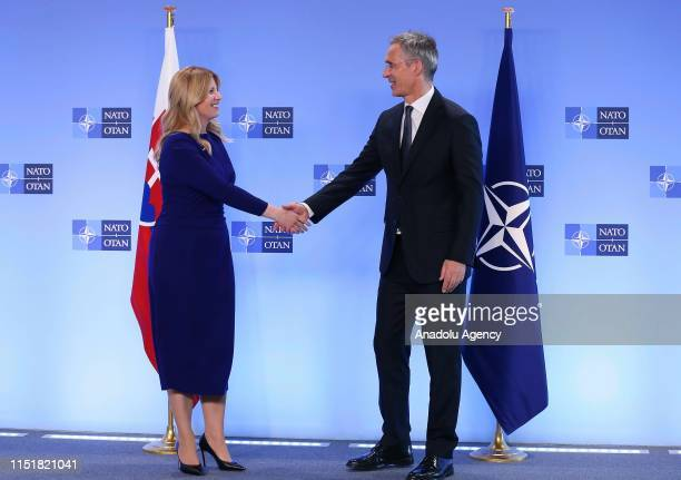 Secretary General Jens Stoltenberg welcomes President of Slovak Republic Zuzana Caputova ahead of a meeting at the NATO headquarters in Brussels...