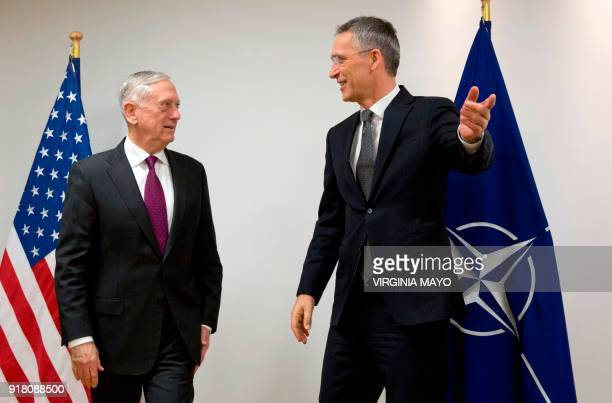 Secretary General Jens Stoltenberg welcomes US Secretary for Defense James Mattis prior to a meeting of the North Atlantic Council at the NATO...