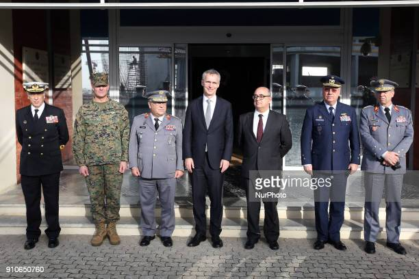 Secretary General Jens Stoltenberg with Portugal's Defence Minister Jose Alberto Azeredo Lopes and Chief of Staff of the Portuguese Armed Forces...