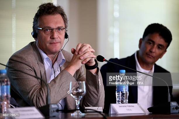 Secretary General Jerome Valcke and Bebeto attends a press conference during the 2014 FIFA World Cup Host City Tour on January 21 2014 in Curitiba...