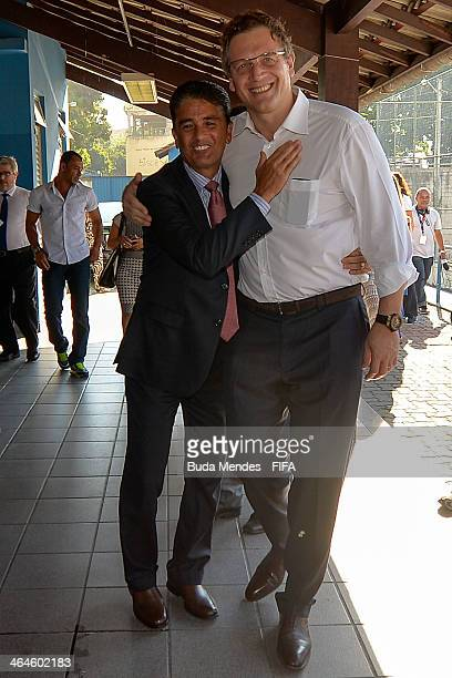 Secretary General Jerome Valcke and LOC Member Bebeto visit the football for hope supported organizacion Bola Pra Frente during the 2014 FIFA World...