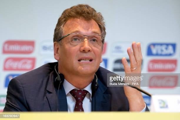 Secretary General Jerome Valcke attends a press conference during FIFA World Cup LOC Board Meeting on March 7 2013 in Rio de Janeiro Brazil