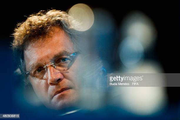 Secretary General Jerome Valcke attends a press conference during the 2014 FIFA World Cup Brazil Local Organizing Committee Board Meeting at Maracana...