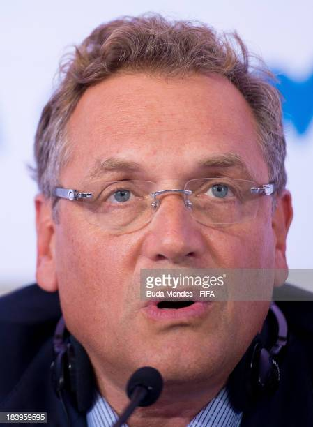 Secretary General Jerome Valcke attends a press conference of 2014 FIFA World Cup Brazil LOC Board meeting on October 10 2013 in Rio de Janeiro Brazil