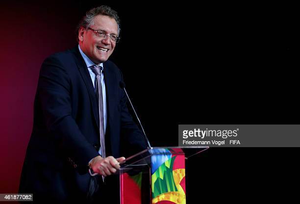 Secretary General Jerome Valcke attends the media briefing for forthcoming FIFA Womens World Cup 2015 in Canada at Federacao Paulista de Futebol on...