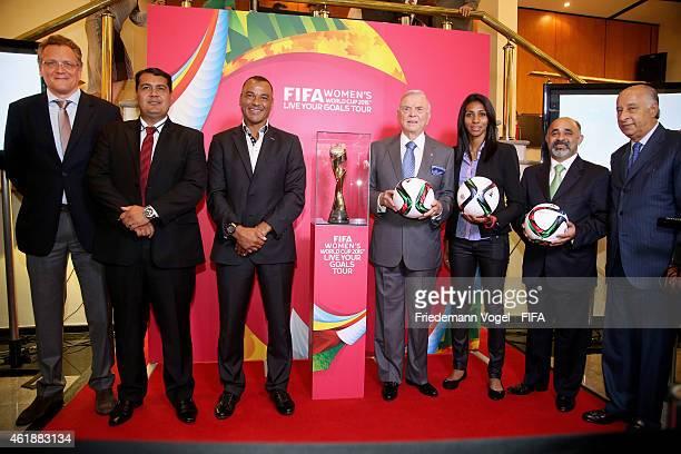 Secretary General Jerome Valcke Cafu CBF President Jose Maria Marin Bruna Brazilian Sports Minister George Hilton and CBF Presidentelect Marco Polo...