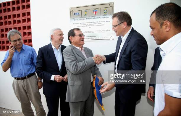 Secretary General Jerome Valcke CBF and Local Organising Committee President Jose Maria Marin FIFA World Cup champion Cafu the President of the...