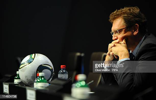 Secretary General Jerome Valcke during the Ethics Committee Press Conference at the FIFA headquarters on May 29 2011 in Zurich Switzerland