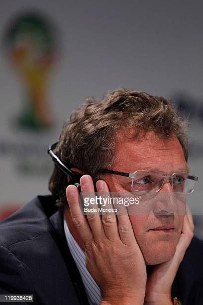 Secretary General Jerome Valcke during the media at a press conference ahead of the Preliminary Draw of the 2014 FIFA World Cup on July 27 2011 in...
