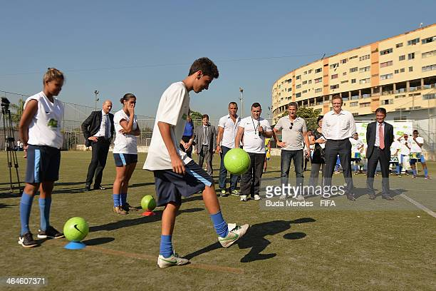 Secretary General Jerome Valcke former Brazilian soccer player and member of the 2014 World Cup local organizing committee Bebeto and former...