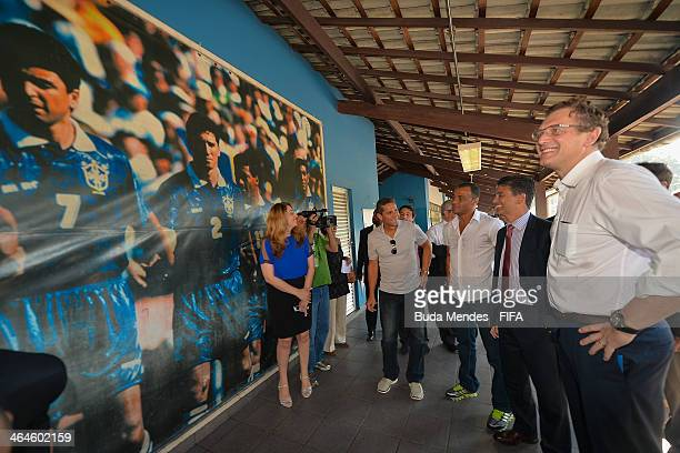 FIFA Secretary General Jerome Valcke LOC Member Bebeto and the Brazilian formers players Cafu visit the football for hope supported organizacion Bola...