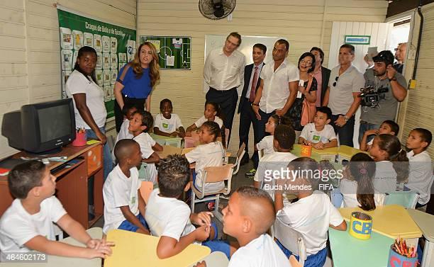 Secretary General Jerome Valcke LOC Member Bebeto and the Brazilian former player Cafu visit the football for hope supported organizacion Bola Pra...