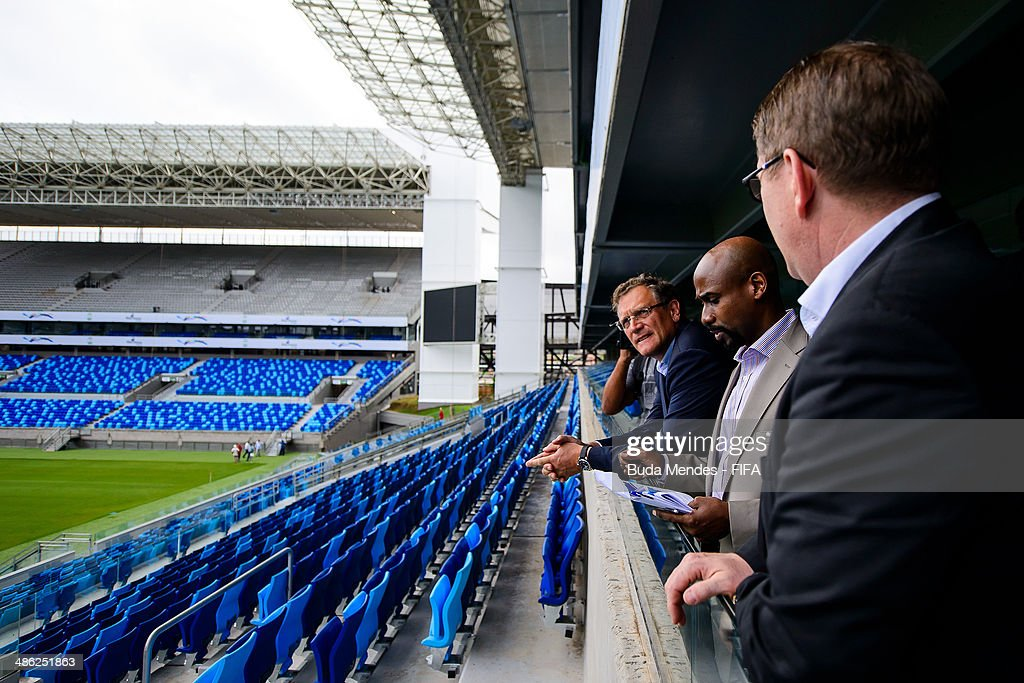 Secretary General Jerome Valcke, Managing Director of the FIFA World Cup Brazil Office, Ron DelMont and FIFA Director Marketing Thierry Weil take a tour of the Arena Pantanal during the 2014 FIFA World Cup Host City Tour on April 23, 2014 in Cuiaba, Brazil