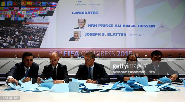 Secretary General Jerome Valcke of France oversees the counting of the votes during the 65th FIFA Congress at the Hallenstadion on May 29 2015 in...